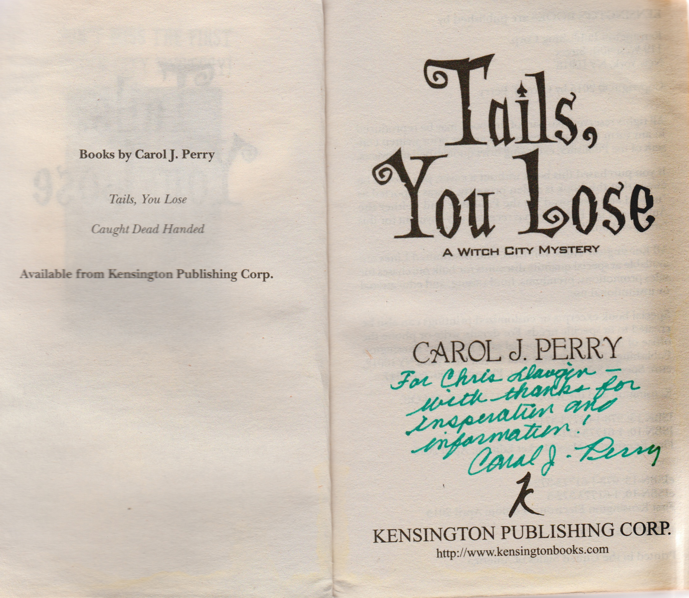 Tails You Lose Carol Perry dedictaion
