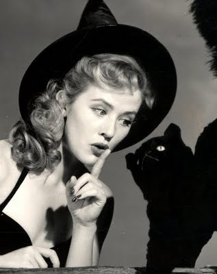 1950s witch and black cat