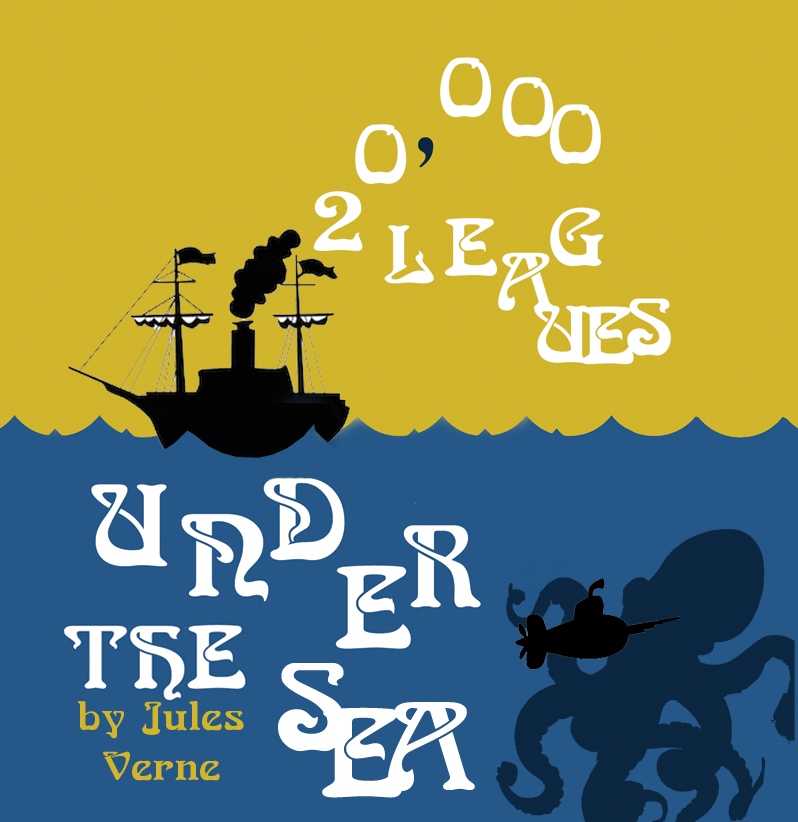 20,000 Leagues Under the Sea cover with tallship, sub, and octopuss.