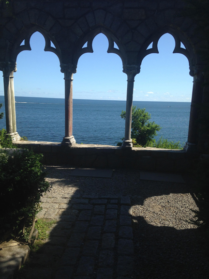 Hammond Castle arcade and Ocean view